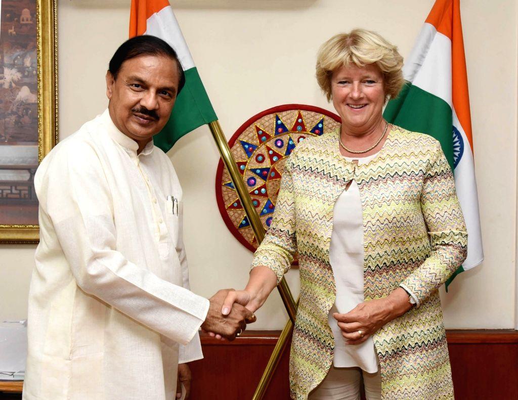 Germany's Culture Minister Monika Gruetters meets Union MoS Culture Mahesh Sharma, in New Delhi, on Sept 17, 2018. - Monika Gruetters and Mahesh Sharma