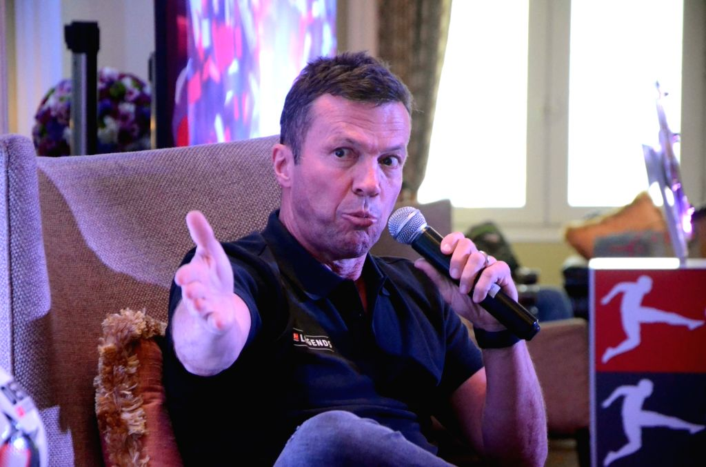 Germany's Football World Cup winning skipper Lothar Matthaus addresses a press conference in Mumbai on Dec 5, 2018.