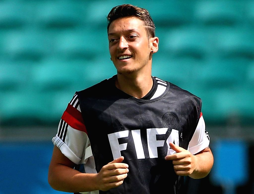 : Germany's Mesut Ozil attends a training session at the Arena Fonte Nova Stadium in Salvador,Brazil, June 15, 2014.(Photo:Xinhua/Cao Can/IANS).