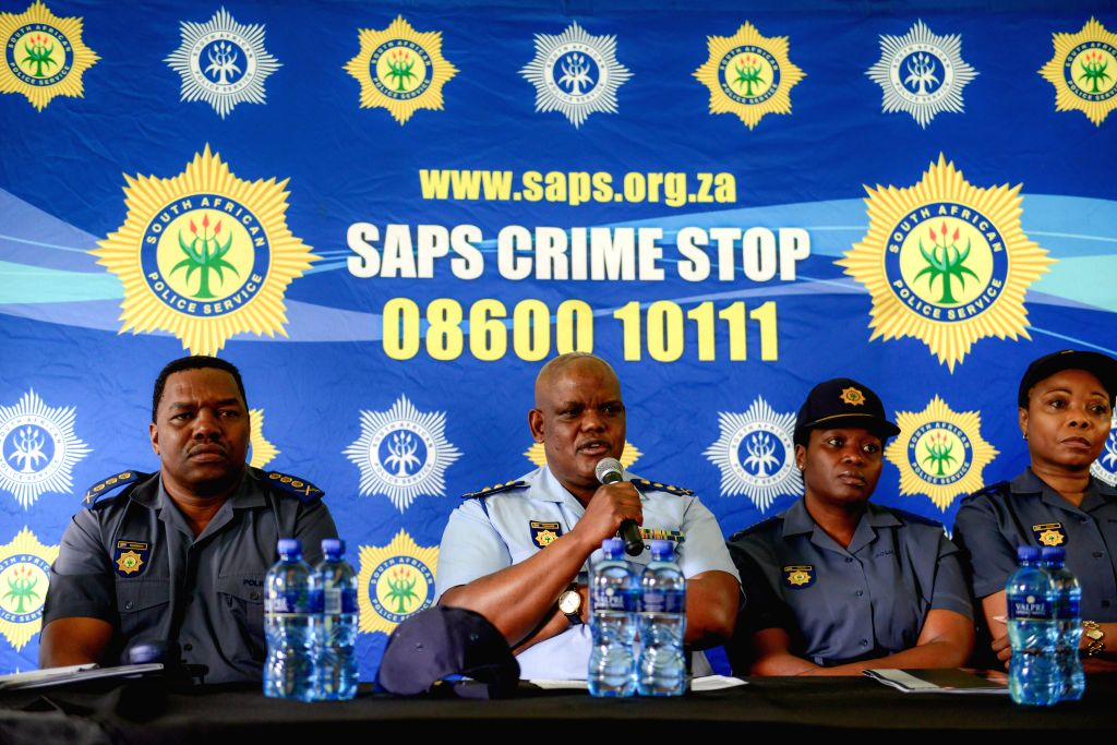 GERMISTON, Oct. 20, 2016 - The Acting National Commissioner of the South African Police Service, Khomotso Phahlane (2nd L), addresses the media at a factory of the Scaw Metals Group, Germiston, ...
