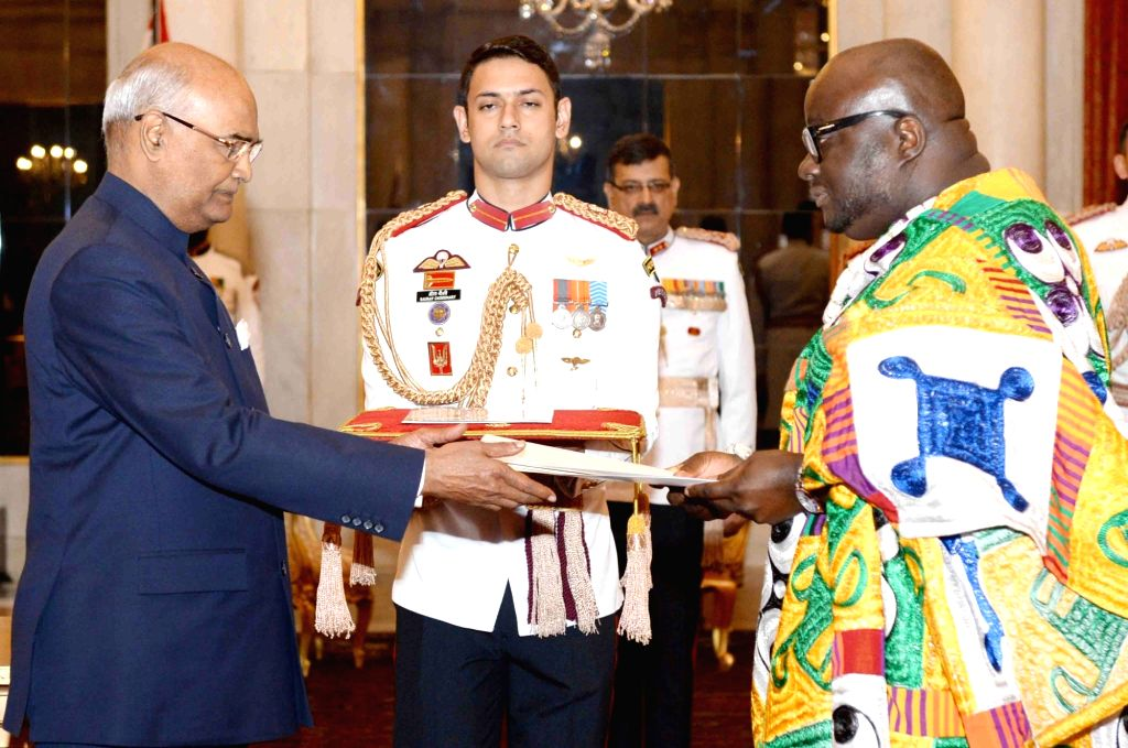 Ghana High Commissioner-designate Michael Aaron Nii Nortey Oquaye presents his credentials to President Ram Nath Kovind at Rashtrapati Bhavan in New Delhi on Sept 19, 2017. - Nath Kovind