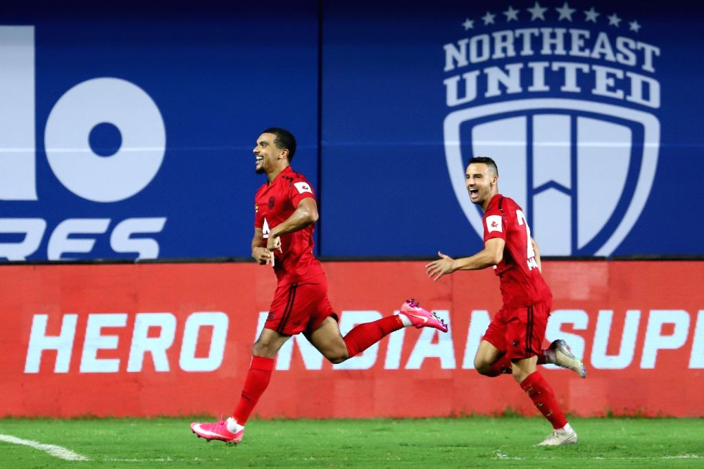 Ghanaian striker Kwesi Appiah scored from a penalty kick in the 49th minute for NEUFC against MCFC in match 2 of ISL 7 at the Tilak Maidan Stadium, Vasco today.