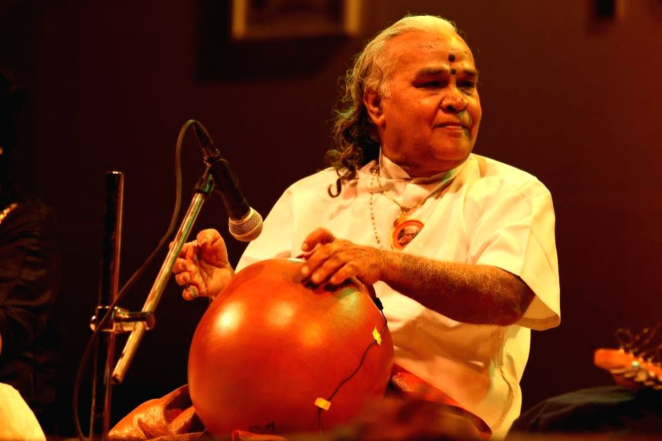 Ghatam percussionist Vikku Vinayakram with his instrument.