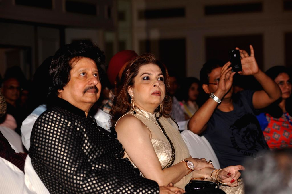 Ghazal singer Pankaj Udhas and his wife during the Khazana, A Festival of Ghazals organized in aid of Cancer Patients Aid Association and Parents Association Thalassemic Unit Trust in Mumbai, on ...