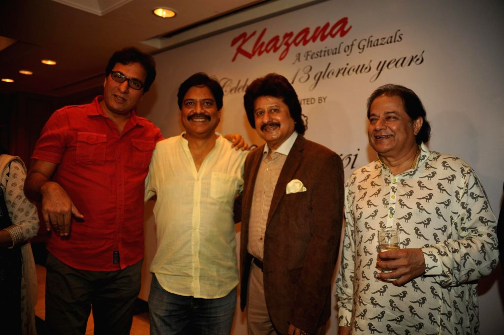 Ghazal singer Talat Aziz, Pankaj Udhas and Anup Jalota during a press conference organised to announce `The Festival of Ghazal` in Mumbai on July 23, 2014.