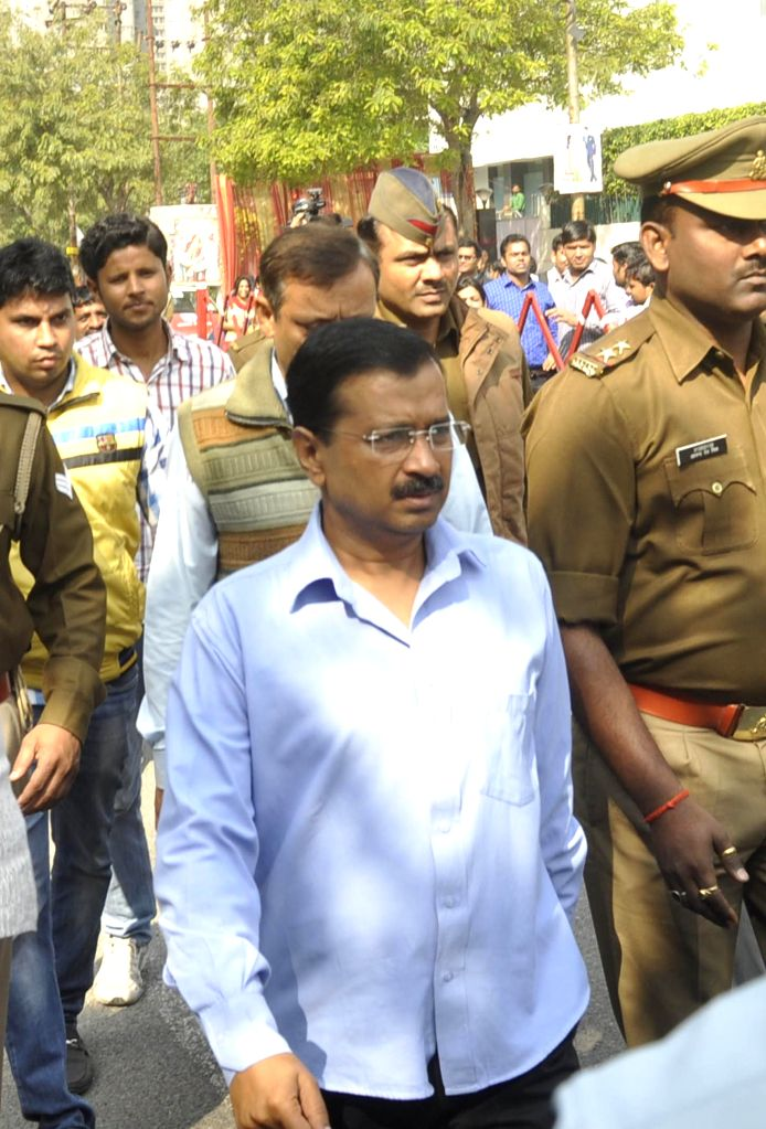 Delhi Chief Minister Arvind Kejriwal arrives to attend Janata Durbar in Ghaziabad on March 18, 2015.
