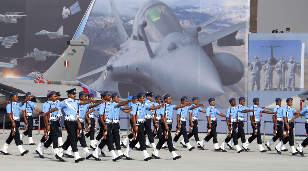 Ghaziabad: Full dress rehearsals for Air Force Day Parade 2020 underway at the Hindon Air Force Station in Uttar Pradesh's Ghaziabad on Oct 6, 2020. (Photo: IANS)