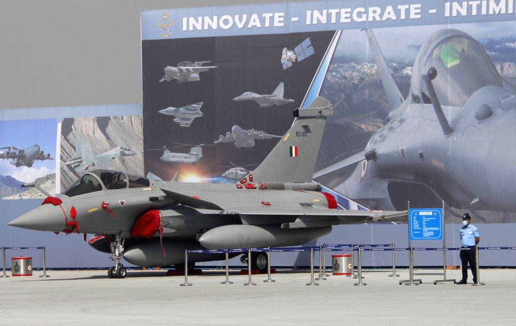 Ghaziabad: The Rafale fighter jet at the Hindon Air Force Station during full dress rehearsals for Air Force Day Parade 2020, in Uttar Pradesh's Ghaziabad on Oct 6, 2020. (Photo: IANS)