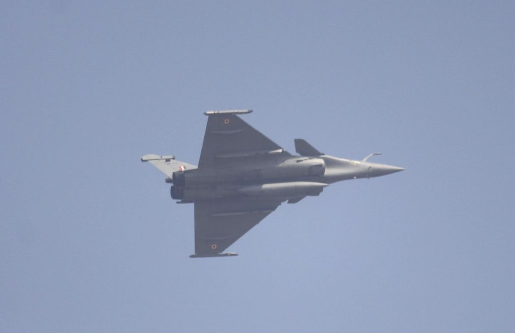 Ghaziabad: The recently inducted Rafale fighter jet flies past the Hindon Air Force Station during the 88th Air Force Day celebrations in Ghaziabad, Uttar Pradesh on Oct 8, 2020. (Photo: IANS)