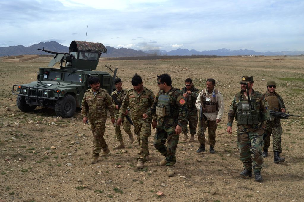 GHAZNI, April 11, 2019 - Afghan security force members take part in a military operation in Ghazni province, eastern Afghanistan, April 10, 2019. Six militants and four police personnel have been ... - Ahmad Khan Sirat