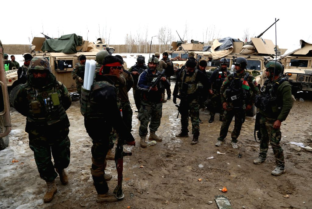 GHAZNI, Feb. 20, 2019 - Afghan security force members take part in a military operation in Andar district of Ghazni province, Afghanistan, Feb. 19, 2019. Afghan forces in crackdown operations have ...