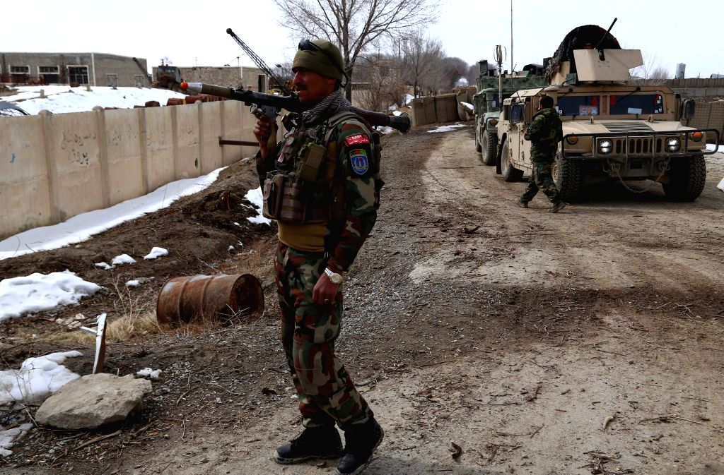 GHAZNI, Feb. 20, 2019 - An Afghan security force member takes part in a military operation in Andar district of Ghazni province, Afghanistan, Feb. 19, 2019. Afghan forces in crackdown operations have ...