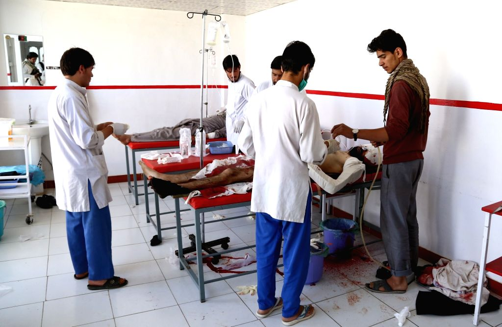 GHAZNI, June 14, 2017 - Injured men receive medical treatment at a local hospital in Ghazni province, Afghanistan, June 14, 2017. One civilian was killed and three people wounded in a bomb attack in ...