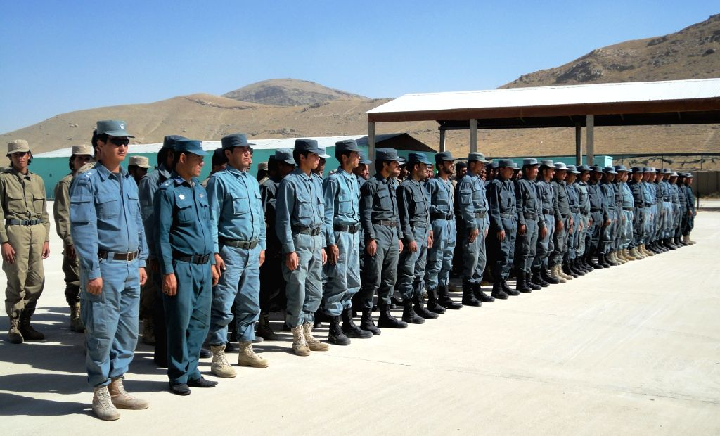 GHAZNI, Oct. 26, 2016 - Afghan policemen take part in their graduation ceremony in Ghazni province, Afghanistan, Oct. 25, 2016. A total of 127 policemen graduated after two months' training at a ...