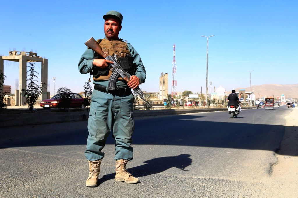 GHAZNI, Oct. 27, 2016 - An Afghan policeman stands guard during a military operation in Ghazni province, Afghanistan, Oct. 27, 2016. About 66 militants had been killed in military operations launched ...