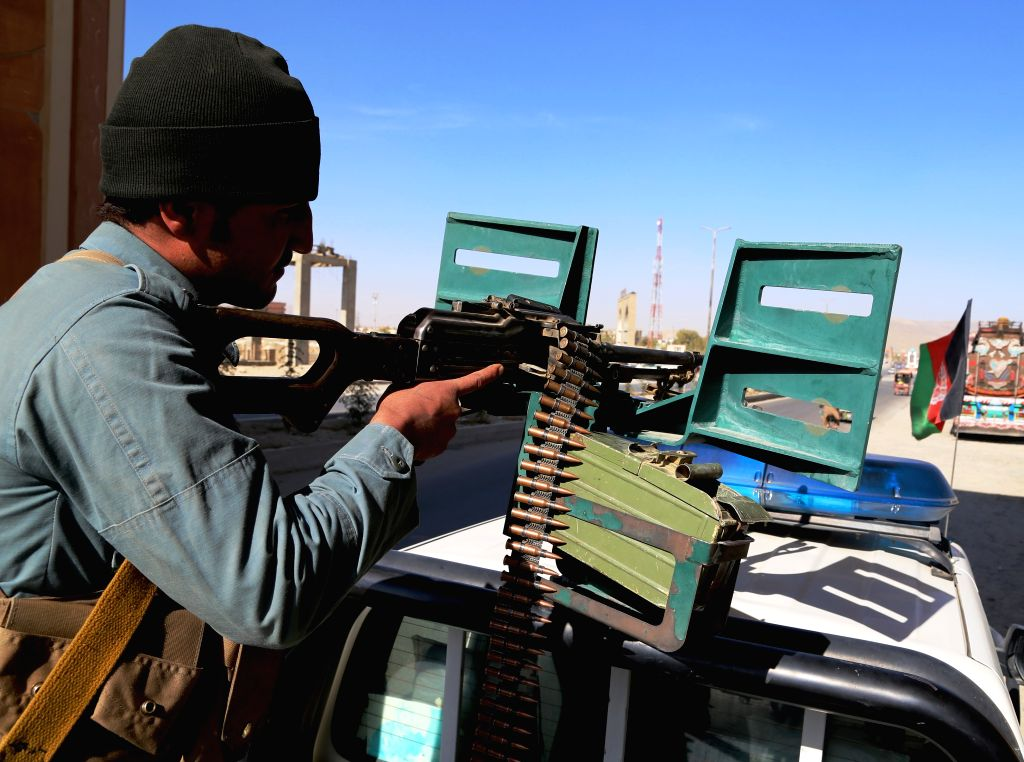 GHAZNI, Oct. 27, 2016 - An Afghan policeman takes position on a military vehicle during a military operation in Ghazni province, Afghanistan, Oct. 27, 2016. About 66 militants had been killed in ...