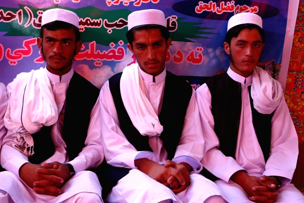 GHAZNI, Oct. 6, 2016 - Afghan religious students take part in their graduation ceremony in Ghazni province, Afghanistan, Oct. 6, 2016. A total of eight religious students graduated after one year of ...