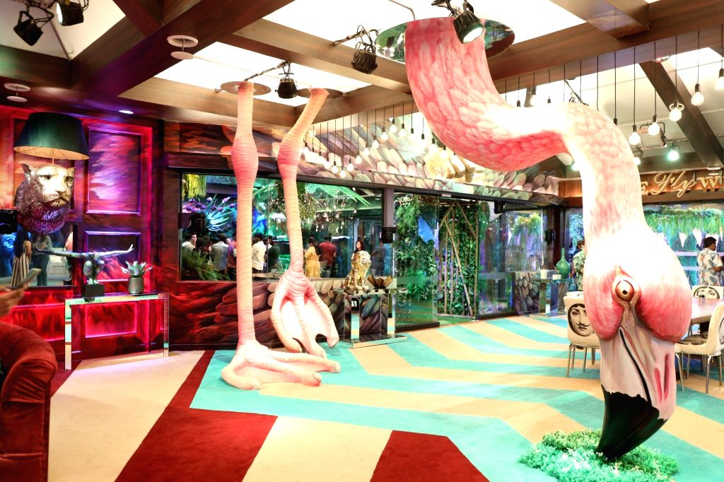 Giant flamingo stands out in jungle-themed Bigg Boss 15 house.