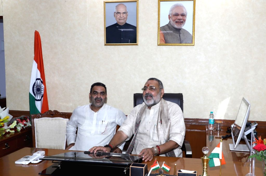 Giriraj Singh takes charge as the Union Minister of Animal Husbandry, Dairying and Fisheries, in New Delhi on May 31, 2019. - Giriraj Singh