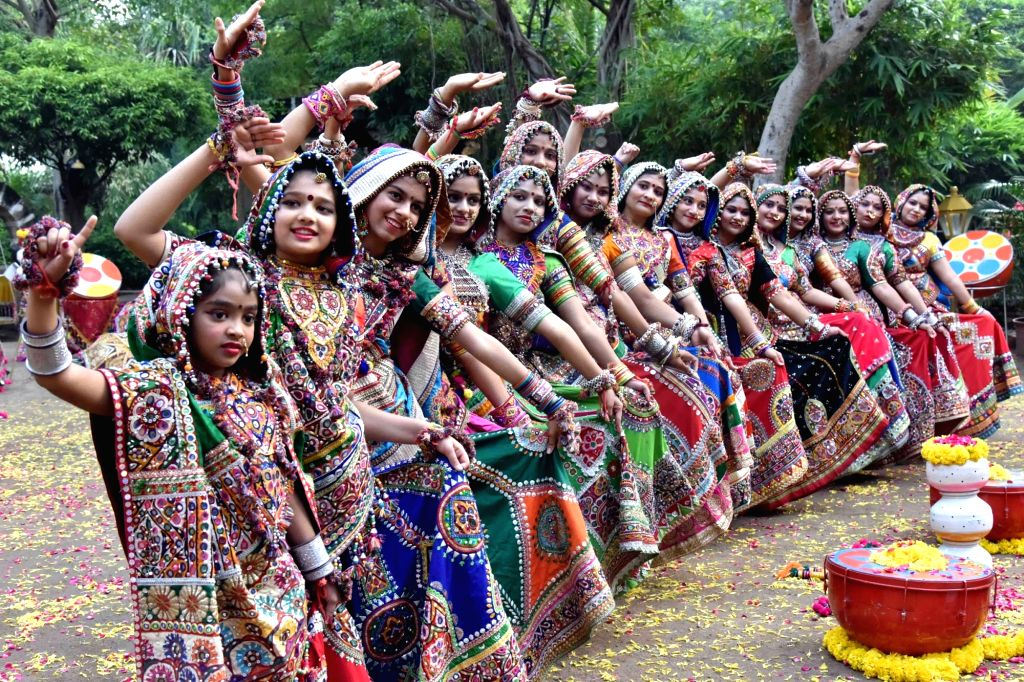 Girls dressed in traditional attire rehearse for Garba - a traditional folk dance, ahead of Navratri festival in Ahmedabad on Sept 18, 2017.