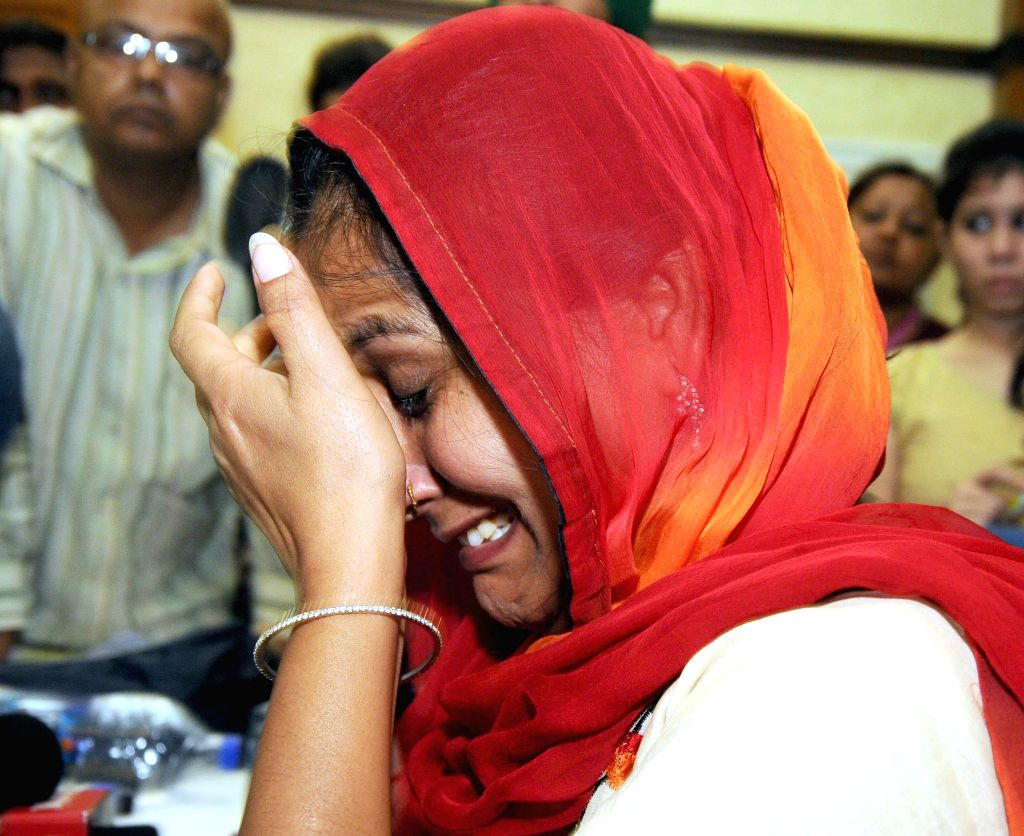 Gita Dawar a Municipal Councilor who hails from Haryana breaks down while narrating her ordeal during a press conference regarding alleged sexual harassment by a Haryana Minister in New Delhi on July