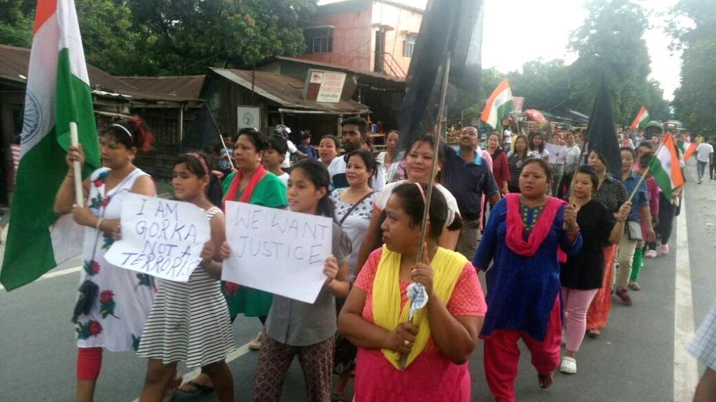 GJM activists stage a demonstration to press for  separate state of Gorkhaland in Siliguri, on June 24, 2017.