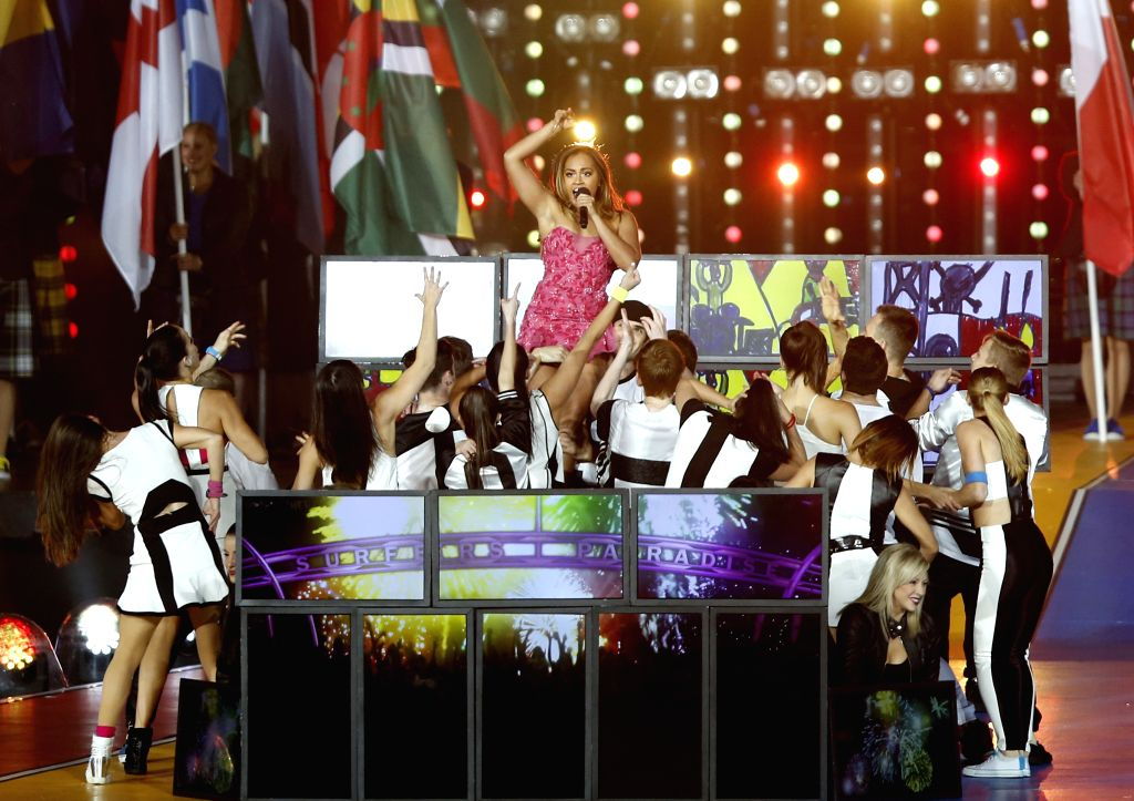 Australian singer Jessica Mauboy performs during the closing ceremony for the Glasgow 2014 Commonwealth Games at the Hampden Park in Glasgow, the United Kingdom, on .
