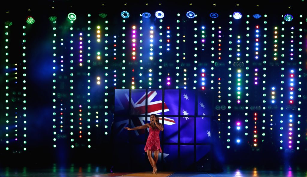 Australian singer Jessica Mauboy during the closing ceremony for the Glasgow 2014 Commonwealth Games at the Hampden Park in Glasgow, the United Kingdom, on Aug. 3, ..