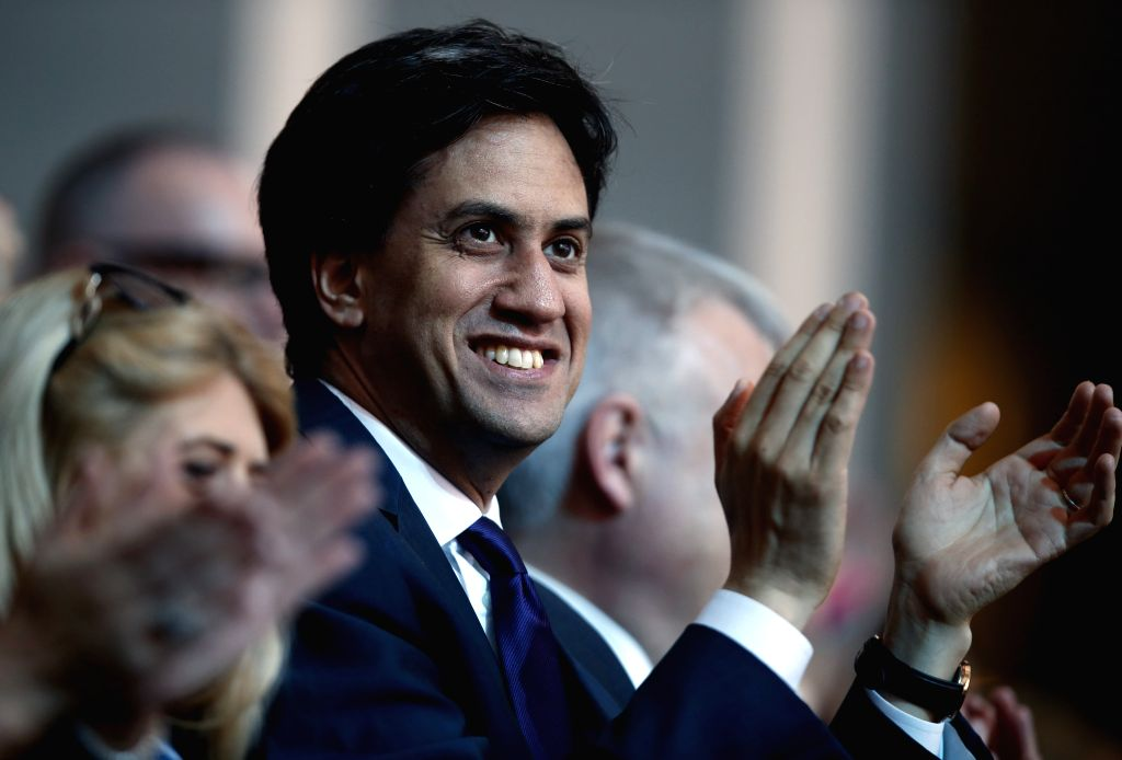 Labor Party leader Ed Milliband applauds during the closing ceremony for the Glasgow 2014 Commonwealth Games at the Hampden Park in Glasgow, the United Kingdom, on .