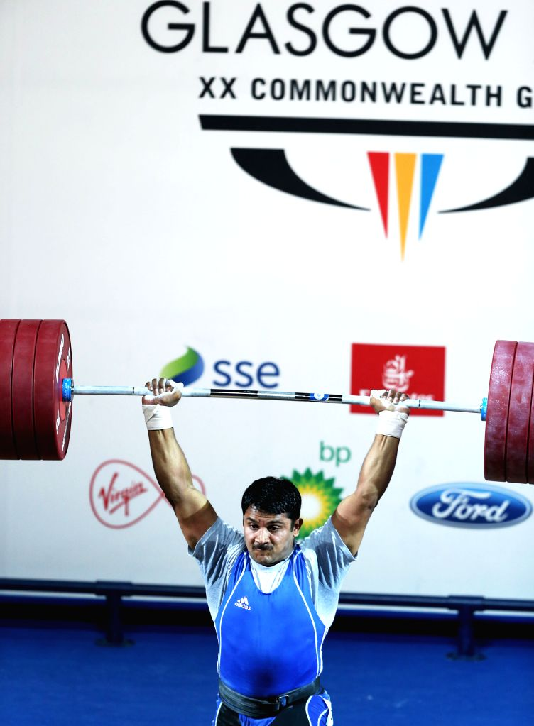 Chandrakant Mali of India competes during the men's 94kg final of weightlifting at the 2014 Glasgow Commonwealth Games in Glasgow, Scotland on July 29, 2014. ...