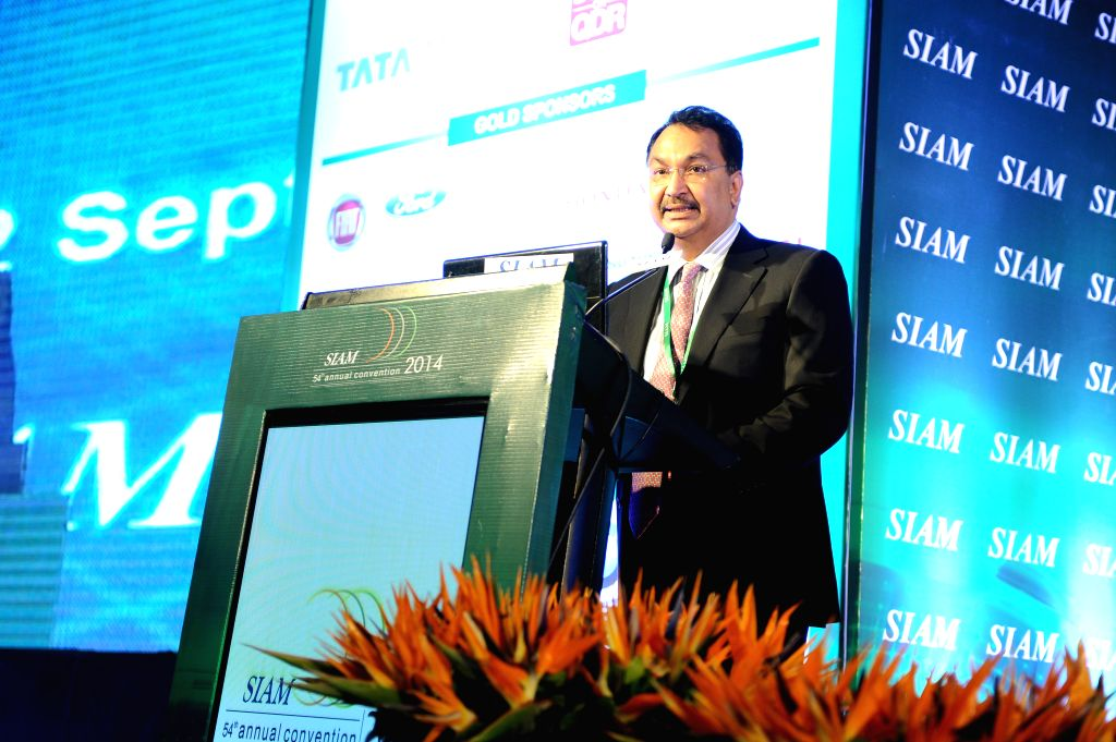 Global Autotech Vice Chairman and SIAM President Vikram Kirloskar addresses at the 54th SIAM Annual Convention in New Delhi on Sept 12, 2014.
