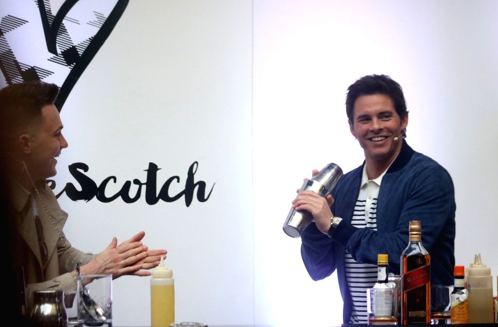 Global Scotch Whisky Ambassador Ervin Trykowski and Ambassador for International Scotch Day James Marsden during International Scotch Day celebrations in New Delhi on Feb 8, 2018.