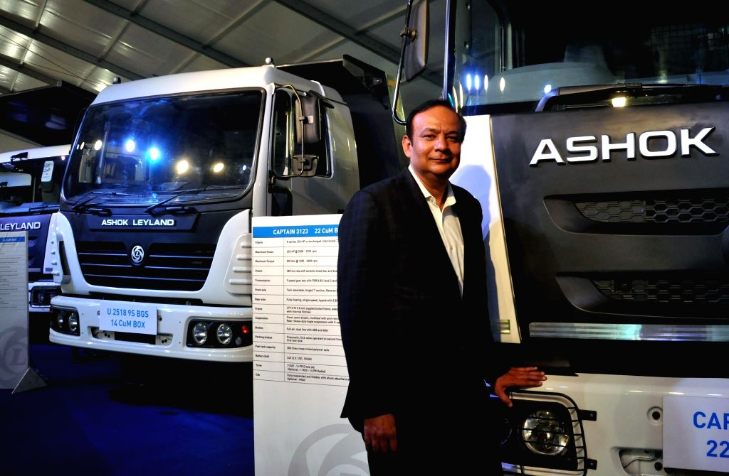 Global Trucks, Ashok Leyland President Anuj Kathuria addresses a press conference on 'entire product line and service initiatives' in Kolkata on July 4, 2017.
