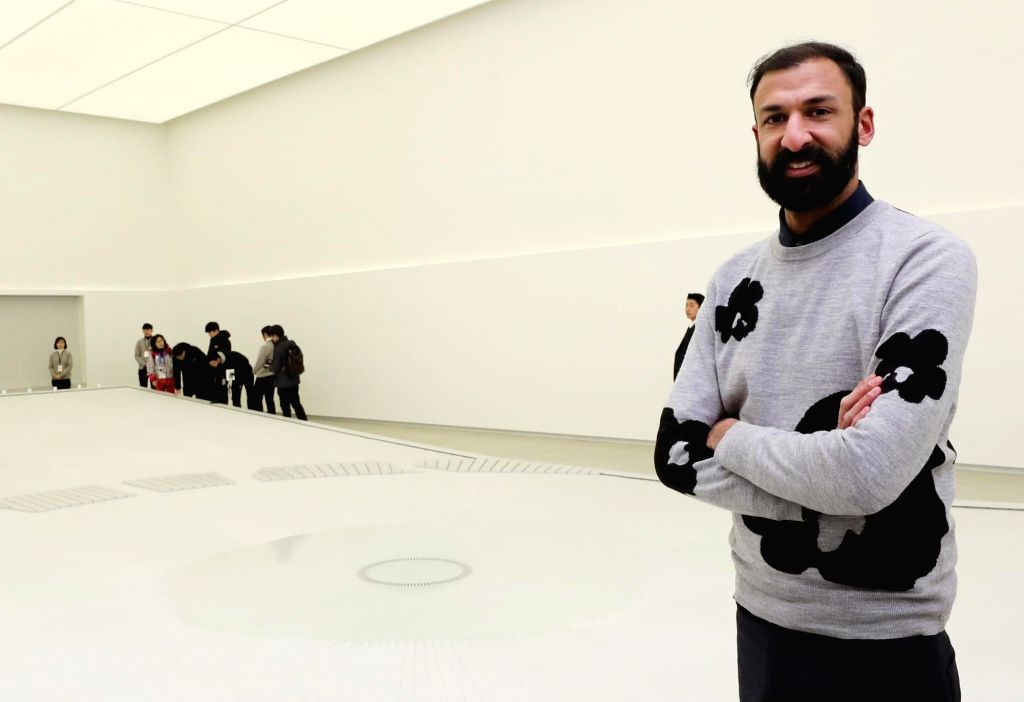"Globally renowned British designer Asif Khan explains his new work, ""Universe,"" set up at Olympic Plaza in PyeongChang, the venue for the ongoing Winter Olympics, on Feb. 12, ... - Asif Khan"