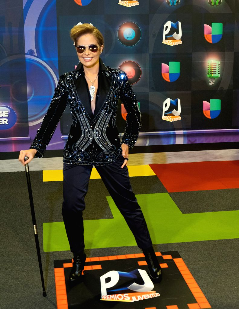Gloria Trevi poses in the red carpet of the Premios Juventud 2015 Awards in Coral Gables, Florida, US, 16 July 2015.