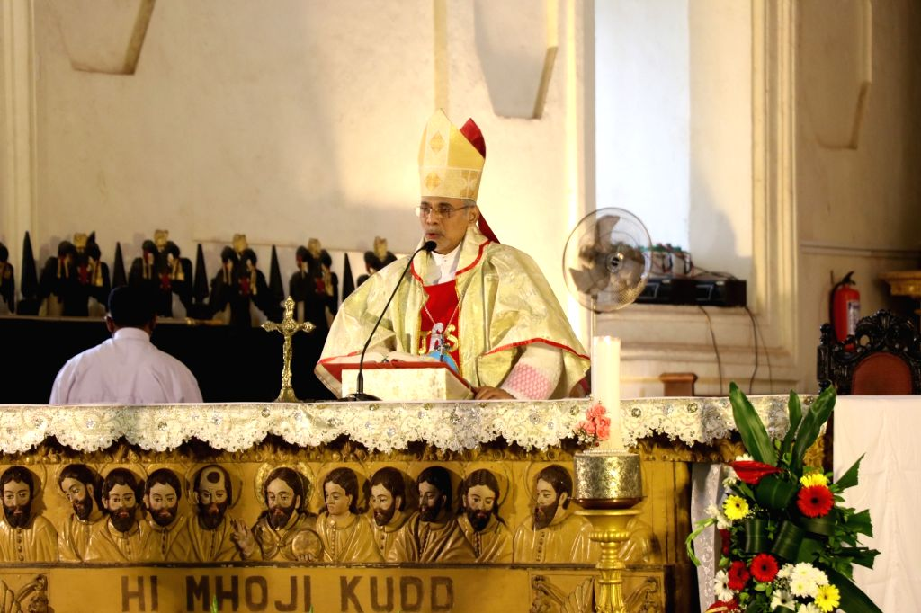Goa Archbishop Filipe Neri Ferrao delivers a sermon on the occasion of the feast of St. Francis Xavier at the Old Goa Church complex near Panaji, on Dec 3, 2020. Amid protests by the ...