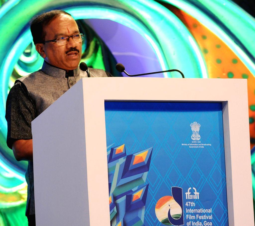 Goa Chief Minister Laxmikant Parsekar addresses during the closing ceremony of 47th International Film Festival of India (IFFI-2016) at Shyama Prasad Mukherjee Stadium in Taleigao, Goa on ... - Laxmikant Parsekar
