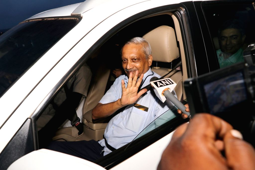 Goa Chief Minister Manohar Parrikar arrives at his residence after three months of treatment in a US hospital for advanced pancreatic cancer, at Taleigao Plateau in Goa's Tiswadi on June 14, ... - Manohar Parrikar