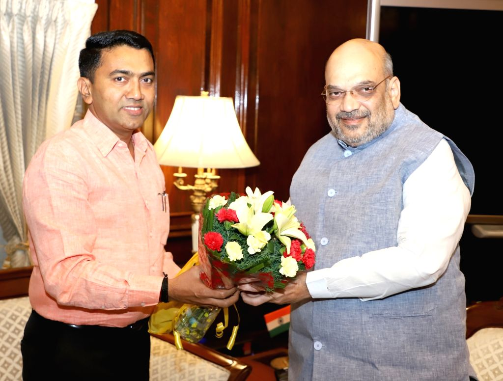 Goa Chief Minister Pramod Sawant meets Union Home Minister Amit Shah, in New Delhi on June 14, 2019. - Pramod Sawant and Amit Shah