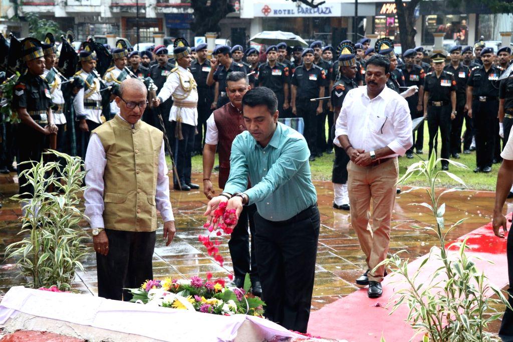 Goa Chief Minister Pramod Sawant pays tributes to martyrs on the 20th Anniversary of  Kargil Vijay Diwas at Azad Maidan in Panaji on July 26, 2019. - Pramod Sawant