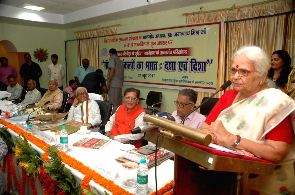 Goa Governor Mridula Sinha addresses during a programme in Patna on June 24, 2017. - Mridula Sinha