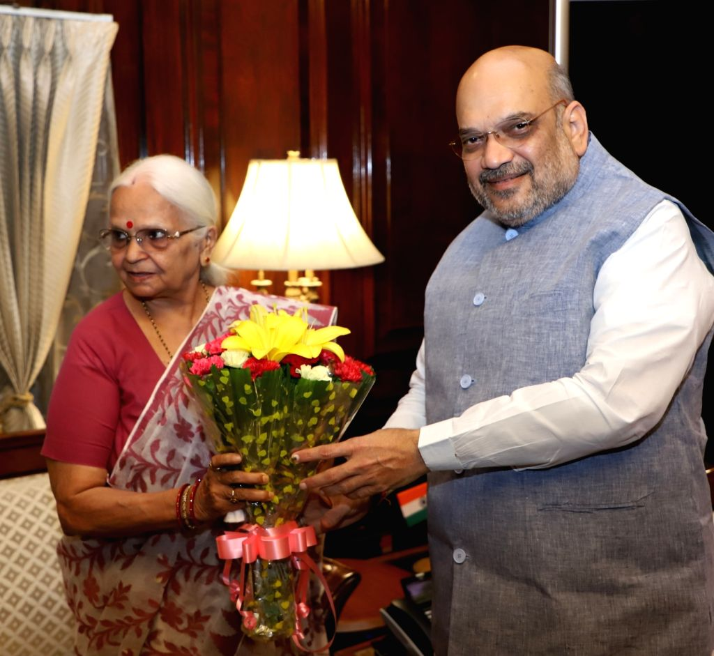 Goa Governor Mridula Sinha meets Union Home Minister Amit Shah, in New Delhi on June 14, 2019. - Amit Shah and Mridula Sinha