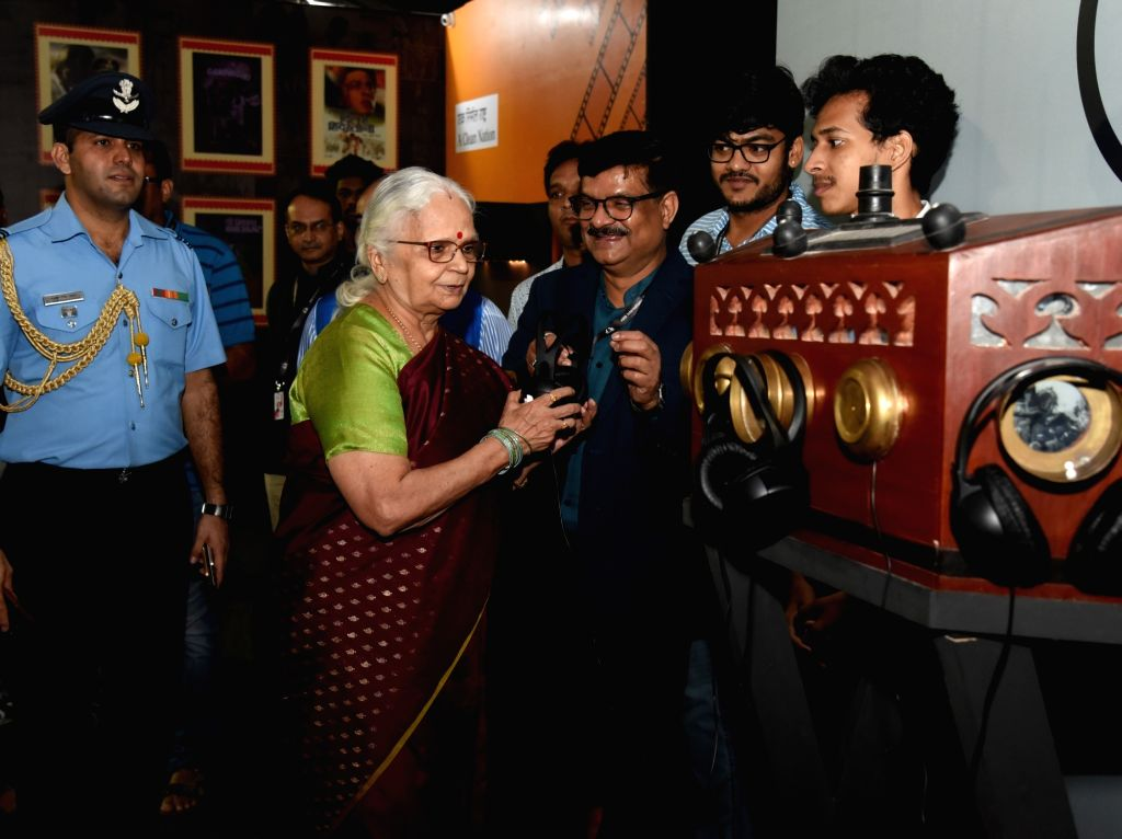 Goa Governor Mridula Sinha visits the 'Mahatma on Celluloid' exhibition along with Ministry of Information and Broadcasting Secretary Amit Khare at the 49th International Film Festival of ... - Mridula Sinha
