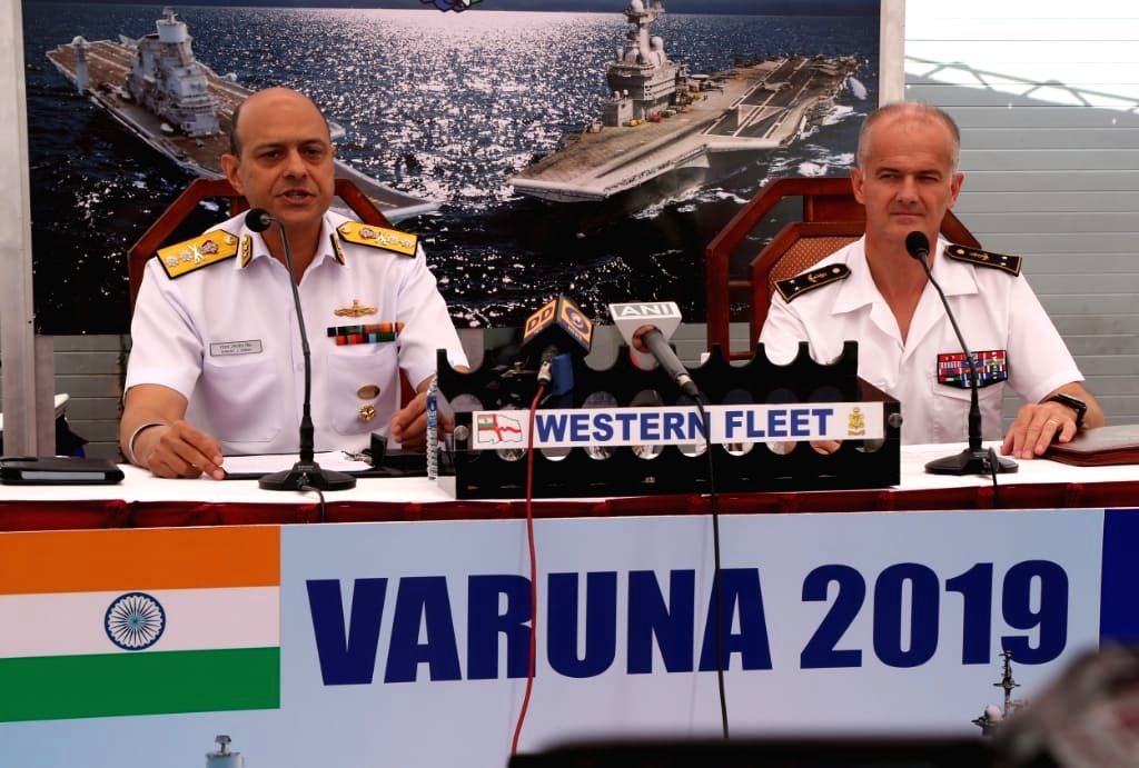 Goa: Indian Navy's Western Fleet Commander Rear Admiral Sanjay Jasjit Singh and Commander Air Sea Rapid Task Force of the French Navy Rear Admiral Olivier Lebas at a joint press conference on-board INS Mumbai during the ongoing bilateral Indo-French