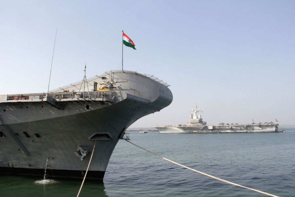 INS Virat docked at Mormugao Port during Varuna 2015 Naval exercise in Goa on April 25, 2015. Also seen French aircraft carrier Charles de Gaulle.