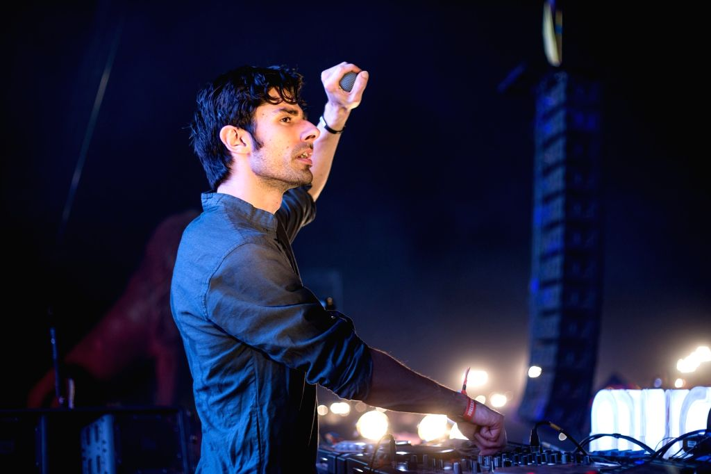 Goa: Niles Hollowell-Dhar better known by his stage name KSHMR performs during Sunburn festival in Goa, on Dec 30, 2015. (Photo: IANS)