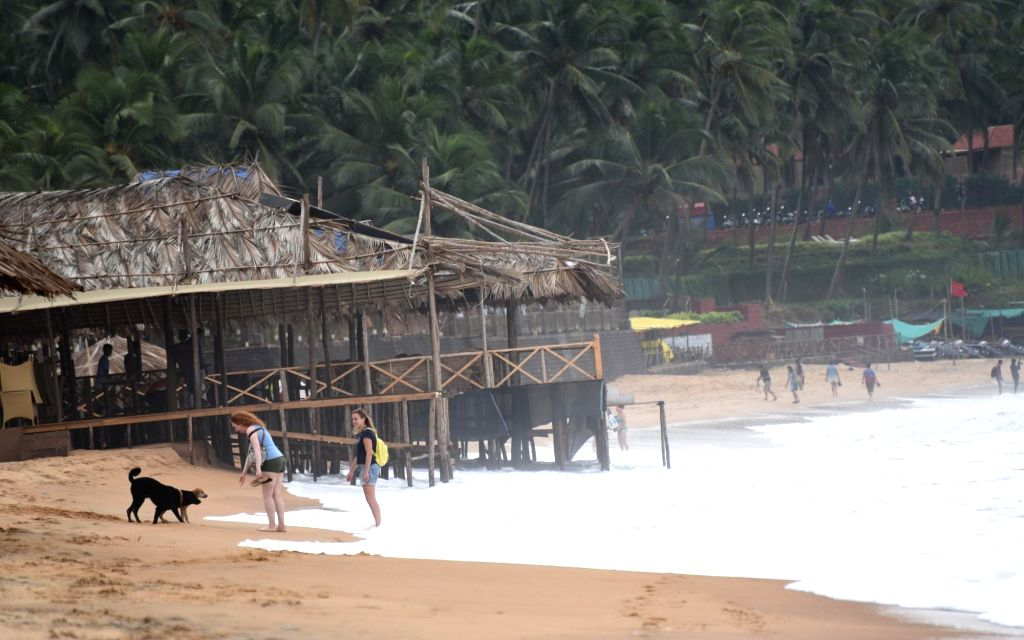 : Goa: Roof of a shack destroyed by Cyclone Ockhi at a beach in Goa on Dec 5, 2017. (Photo: IANS).