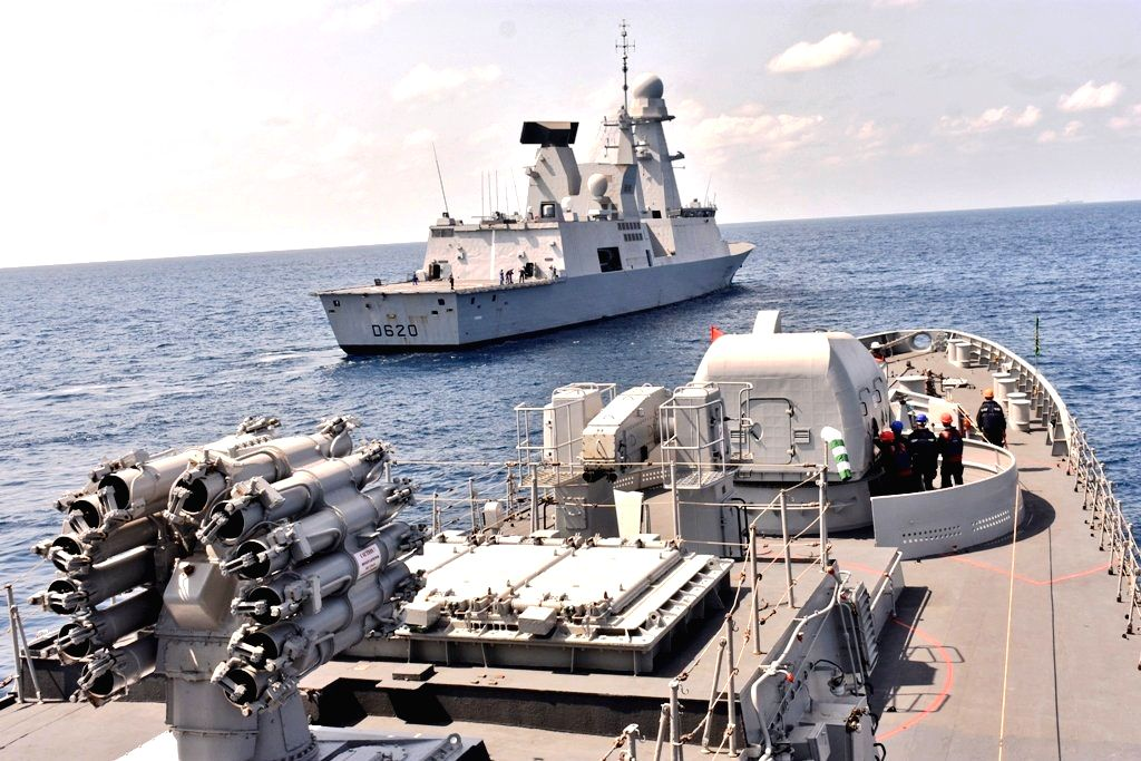 Goa: The Day 3 of Indo-French naval Exercise 'Varuna' sea phase saw multi-helicopter operations with cross deck landings, on May 10, 2019. In addition Visit, board, search, and seizure (VBSS) operations and towing exercise between the French Navy and