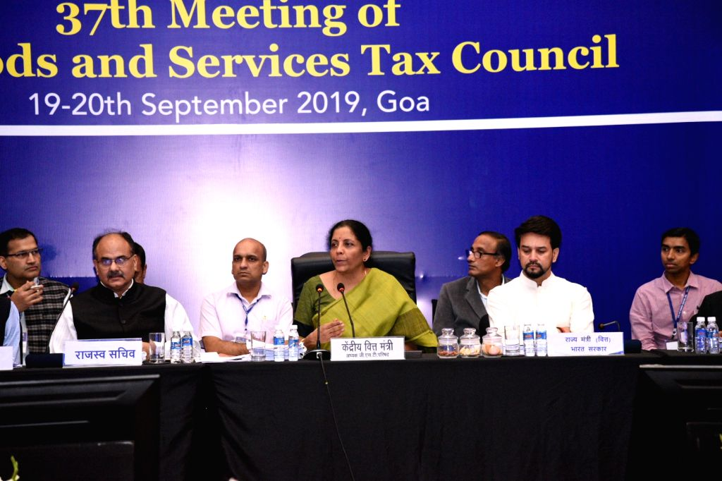 Goa: Union Finance Minister Nirmala Sitharaman chairs the 37th council meeting of the Goods and Services Council (GST) in Goa on Sep 20, 2019. Also seen Union MoS Finance Anurag Thakur and Revenue Secretary Ajay Bhushan Pandey. (Photo: IANS) - Nirmala Sitharaman