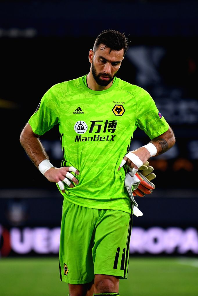 Goalkeeper Rui Patricio of Wolverhampton Wanderers reacts after the UEFA Europa League quarterfinal between Wolverhampton Wanderers and Sevilla FC in Duisburg, ...